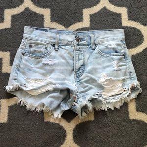 Distressed denim shorts!